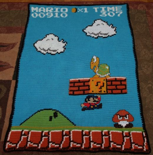 Awesome Super Mario Bros. crochet blanket Platformer Update
